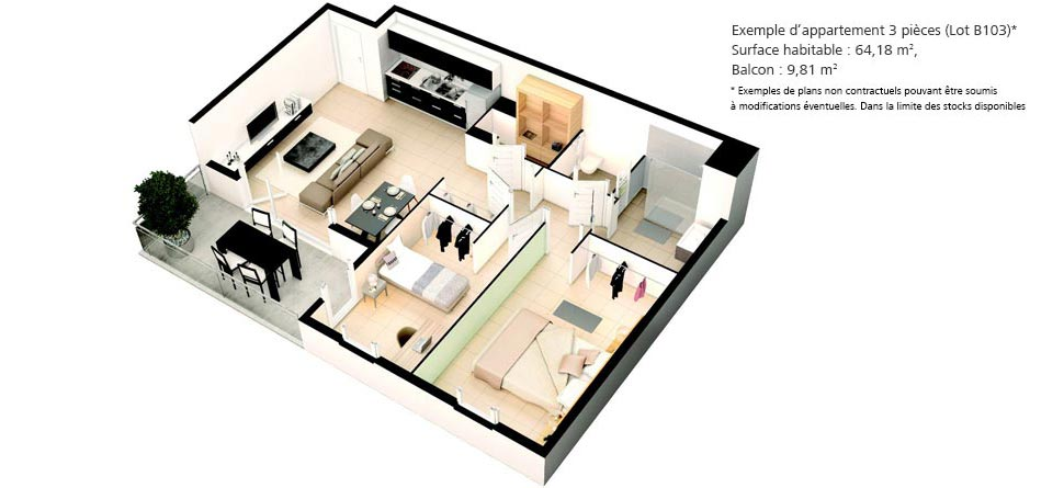 Appartements 3 pièces