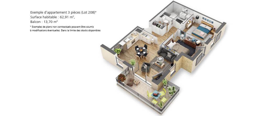 Exemple d'appartement T3