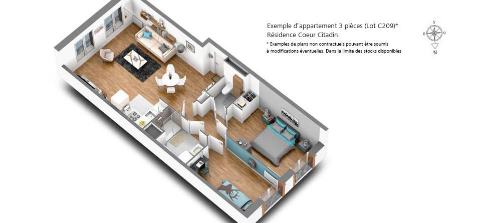 Appartement 3 pièces, Coeur citadin